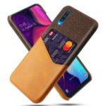 KSQ Card Holder Phone Shell PC + PU + Cloth Back Cover Casing for Samsung Galaxy A50 – Orange