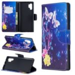 Pattern Printing Leather Wallet Phone Case for Samsung Galaxy Note 10 Pro – Butterfly and Flower