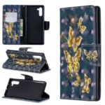 Light Spot Decor Patterned Leather Wallet Casing for Samsung Galaxy Note 10 – Golden Butterfly