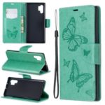Imprint Butterfly Leather Wallet Phone Shell for Samsung Galaxy Note 10 Pro – Green