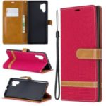 Assorted Color Jeans Cloth Wallet Leather Shell for Samsung Galaxy Note 10 Pro – Red