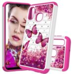 [Rhinestone Decor] Patterned PC + PU Leather Phone Case for Samsung Galaxy A20e / Galaxy A10e – Rose Butterfly