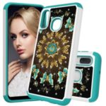 [Rhinestone Decor] Patterned PC + PU Leather Phone Case for Samsung Galaxy A20e / Galaxy A10e – Flower and Butterfly