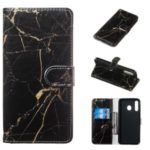 Marble Pattern Printing Leather Wallet Stand Protective Case for Samsung Galaxy M30 / A40s – Black / Marble
