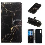 Pattern Printing Leather Wallet Stand Protective Case for Samsung Galaxy A70 – Black / Marble
