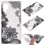 Glitter Sequins Inlaid Patterned TPU Phone Shell for Samsung Galaxy Note 10 Pro – Black Lace