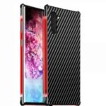 Carbon Fiber Texture Detachable 2-in-1 Metal+Aluminium Alloy Electroplating Phone Shell for Samsung Galaxy Note 10 – Black/Red