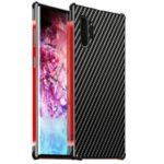Carbon Fiber Texture Detachable 2-in-1 Metal+Aluminium Alloy Electroplating Back Shell for Samsung Galaxy Note 10 Pro – Black/Red