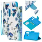 Pattern Printing Leather Wallet Case for Samsung Galaxy A60/A40 – Blue Flower and Butterfly