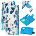 Pattern Printing Wallet Leather Case with Strap for Samsung Galaxy A20e / A10e / A202 / Jean2 – Blue Flower and Butterfly