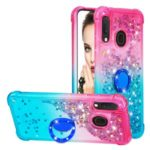 Gradient Glitter Powder Quicksand TPU Shell with Finger Ring Buckle for Samsung Galaxy A20e/A10e – Red/Sky Blue