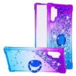 Anti-fall Gradient Glitter Powder Quicksand Finger Ring Kickstand TPU Phone Case for Samsung Galaxy Note 10 – Purple/Blue