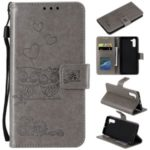 Imprint Owls Pattern Wallet Stand Flip Leather Phone Shell with Strap for Samsung Galaxy Note 10 – Grey