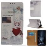 Pattern Printing Leather Wallet Case for Sony Xperia 20 – Cat Holding Heart and American Flag