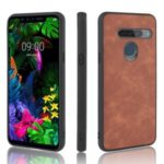 PU Leather Coated TPU Back Phone Casing for LG G8s ThinQ – Brown