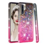 Rhinestone Decor Gradient Glitter Powder Quicksand TPU Shell Case for Huawei P30 Pro – Grey / Red