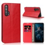 Crazy Horse Genuine Leather Wallet Stand Casing for Huawei Honor 20 Pro – Red