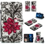 Pattern Printing Light Spot Decor Leather Wallet Case for Huawei Honor 20 Pro – Red Flower