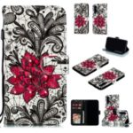 Pattern Printing Light Spot Decor Leather Wallet Case for Huawei Honor 20 – Red Flower