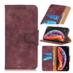 Retro Style Split Leather Mobile Phone Casing Shell for Huawei Honor 9X Pro – Wine Red