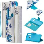 Leather Phone Shell with Strap Phone Shell for Huawei Honor 20i/10i/Enjoy 9s/Honor 20 Lite/P Smart+ 2019/Mate 30 Lite/Maimang 8 – Blue Butterflies