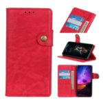 S-shape Crazy Horse Texture Leather Wallet Case for Huawei Honor 9X Pro – Red