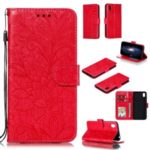 Imprinted Lace Flower Skin Leather Wallet Stand Phone Case for Huawei Y5 (2019) / Honor 8S – Red