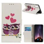 Pattern Printing Leather Wallet Case for Huawei Honor 9X / Honor 9X Pro – Owls and Hearts
