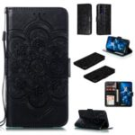 Imprint Mandala Flower Leather Wallet Stand Case for Huawei Honor 20 Pro – Black