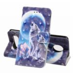Pattern Printing Leather Wallet Stand Casing for Motorola Moto Z4 Play – Wolf and Moonlight