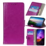 Crazy Horse Skin Leather Wallet Cell Shell for Motorola One Pro – Purple