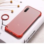 Side Frameless Matte Grain PC + TPU Hybrid Case with Finger Ring Lanyard for Xiaomi Mi 9 – Red