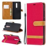 Color Splicing Jeans Cloth Skin Wallet Stand Leather Case for Xiaomi Redmi K20/Mi 9T/K20 Pro/Mi 9T Pro – Red