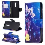 Pattern Printing Cross Texture Wallet Stand Flip Leather Phone Case for Xiaomi Redmi K20/Mi 9T/K20 Pro/Mi 9 Pro – White Butterflies and Flowers