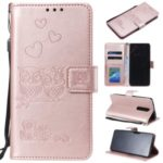 Imprint Heart Owl Leather Wallet Case for Xiaomi Redmi K20 / Mi 9T / Redmi K20 Pro / Mi 9T Pro – Rose Gold