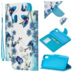 Leather Phone Shell with Strap Phone Shell for Xiaomi Redmi 7A – Blue/Flowers and Butterflies