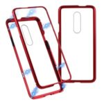 Magnetic Metal Frame + Tempered Glass Back Cell Phone Case for OnePlus 7 Pro – Red