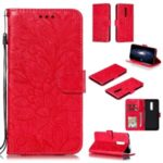 Lace Flower Imprinted Leather Wallet Stand Phone Casing Shell for OnePlus 7 Pro – Red