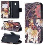 Pattern Printing Wallet Stand Flip Leather Phone Shell for Nokia 2.2 – Elephant and Malanda Flower
