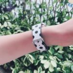 Dots Pattern Genuine Leather Watch Strap Watchband for Apple Watch Series 3/2/1 42mm / Apple Watch Series 4 44mm – Black Dots / White