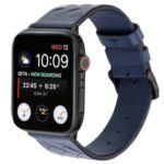 Genuine Leather Woven Texture Wristbands Smart Watch Strap for Apple Watch Series 1/Series 2/Series 3 42mm, Watch Series 4 44mm – All Blue