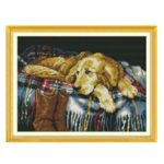 43 * 33cm Dog Lying On Bed DIY Handmade Needlework Cross Stitch Embroidery Room Wall Decor