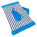 Kids Hooded Beach Towel Cotton Catoon Blanket Bath Towel Cape Cloak Boy Girl – Blue Stripe Whale