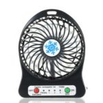 Portable Rechargeable LED Light Fan Mini Desk USB Charging Air Cooler 3 Mode Speed Cooling – Black