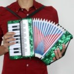 17-Key 8 Bass Mini Small Accordion Educational Musical Instrument Toy for Kids Children Amateur Beginner – Green