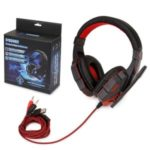 Over-ear Gaming Headset for PC Laptop with Microphone with USB 3.5mm Plug LED Light Volume Control Gaming Headphones – Red