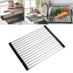 Dish Drying Rack Holder Square Tube Folding Draining Rack Stainless Steel Non-Slip Multipurpose Sink Drainer Heat Kitchen