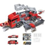 Kids Puzzle Toy Deformation Fire Engineering Vehicle Storage Parking Lot Car Model Set – Red