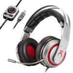 XIBERIA T19 PC Gamer Headset USB 3D Surround Sound Gaming Headphones Microphone LED for Computer – Silver