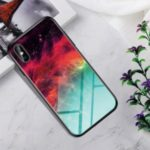 Gradient Color Tempered Glass + PC + TPU Hybrid Cover Case for iPhone XS Max 6.5 inch – Colorful Star Clouds